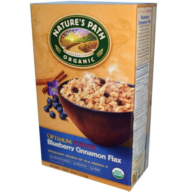 Nature's Path Blueberry Cinnamon Flax Oatmeal = YUMTASTIC