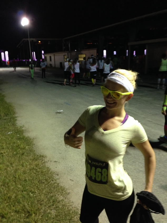 Before the race. I've got my highlighter yellow shirt and glasses on and I'm READY to party!