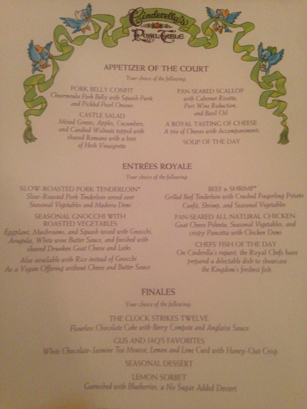 The Menu at Cinderella's Royal Table